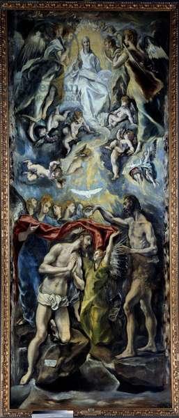 The baptism of Christ Painting by Domenikos Theotokopoulos dit El Greco (1541-1614) 1596 Sun. 3,5x1,44 m Madrid, Prado Museum