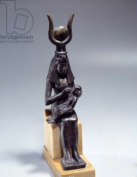 Egyptian antiquite: bronze statuette of the goddess Isis nursing Horus. Low period (664-332 BC). Paris, Louvre Museum