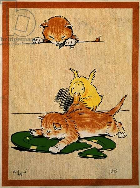 Cats et duck. Drawing by Cecil Aldin (1870-1935). Paris, Decorative Arts