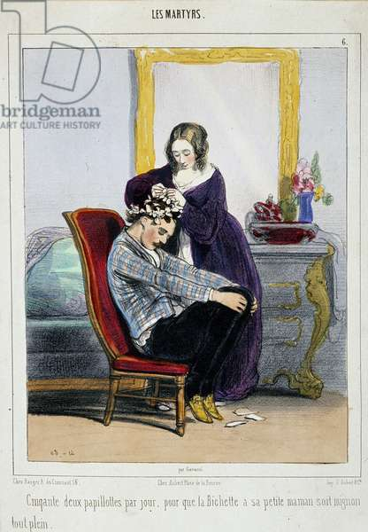 A mother puts curlers on her son. Cartoon by Paul Gavarni (1804-1866) 19th century Paris, decorative arts