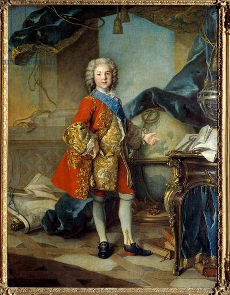 """Portrait en pied du dauphin Louis de France (1729 - 1765) son of Louis XV, in his study studio. Painting by Louis Tocque (1696 - 1772), 1739. Oil on canvas. Dim: 1,96 X 1,46m.  - Full-length portrait of the Dauphin Louis de France (1729-1765), son of Louis XV in his study """""""" cabinet"""""""". Painting by Louis Tocque (1696 - 1772), 1739. Oil on canvas. 1.96 x 1.46 m. Louvre Museum, Paris"""
