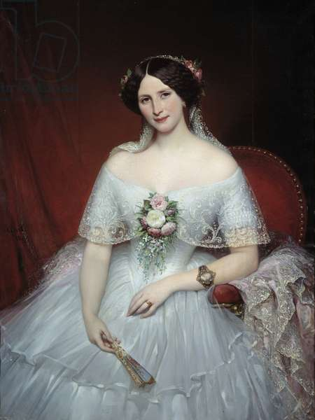 Portrait of Madame Pouchet She is the wife of the doctor Archimede Pouchet, friend of Gustave Flaubert. Painting by Joseph Court (1797-1865) 1849 Sun. 0,97x1,3 m Rouen, musee des Beaux Arts - Portrait of Madame Pouchet, wife of the doctor Archimede Pouchet, a friend of Gustave Flaubert. Painting by Joseph Court (1797-1865), 1849. 0.97 x 1.3 m. Beaux-Arts Museum, Rouen, France