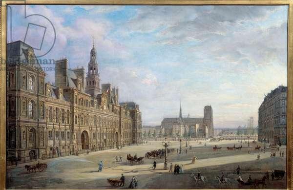 The city hall of Paris in 1868. Painting by Jan Ostoga De Miodoucheski (Mioduzsewski) (1831 -? ). Oil on canvas. Dim: 0,78 x 1,17m. Paris, Musee Carnavalet - The City Hall of Paris in 1868. Painting by Jan Ostoga by Miodoucheski (Mioduzsewski) (1831-? ). Oil on canvas. 0.78 x 1.17 m. Carnavalet Musem, Paris