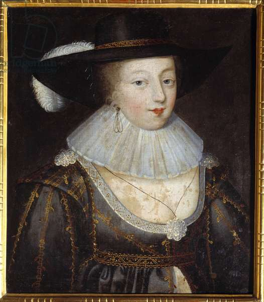 """Presume portrait of Gabrielle d'Estrees. Gabrielle d'Estrees (1573-1599) mistress of Henry IV. Anonymous French painting, early 17th century. Oil on canvas, dim. 57x49cm. Tarbes, Massey Museum."""""""""""