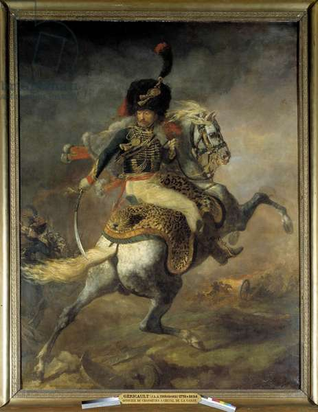 Officer of Hunters on Horseback of the Imperiale Guard Charge Painting by Theodore Gericault (1791-1824) 1812 Sun. 3,49x2,66 m