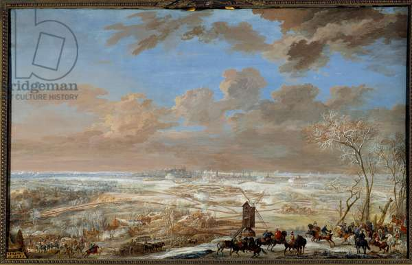 """War of the Succession of Austria (1741-1748): """""""" Siege of Brussels under the snow by the marechal of Saxony from 7 to 20 February 1746"""""""" Gouache by Louis Nicolas Van Blarenberghe (1716-1794) 1781 Sun. 0,59x0,94 m Versailles, museum of the castle"""