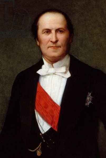"""Portrait of Baron Eugene-Georges Haussmann, Prefet of Paris (1809-1891)"""" He was at the origin of the great renovation works of the city of Paris under the Second Empire. detail of the Painting by Henri Lehmann (Karl Ernest (Ernst) Rudolf Heinrich Salem dit) (1814-1882), 1860, oil on canvas, 132 x 100 cm Paris, Musee Carnavalet - Portrait of Baron Eugene- Georges Haussmann, Prefect of Paris (1809-1891) (well known for a wide-reaching program of municipal improvements in Paris under the Second Empire). Detail- Painting by Henri Lehmann (called Karl Ernest (Ernst) Rudolf Heinrich Salem) (1814-1882) 1860, oil on canvas, 132 x 100 cm. Carnavalet Museum, Paris"""