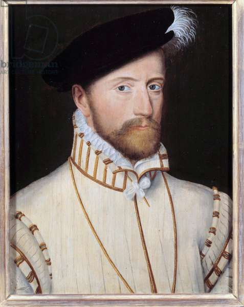 Portrait of Jacques d'Albon, lord of Saint Andre, Marquis de Fronsac (1505-1561) made marechal of France in 1547 Painting of the French school of the 16th century. Dim. 0,32 x 0,23 m. Versailles, chateaux de Versailles et de Trianon - Portrait of Jacques d'Albon, lord of Saint Andre, Marquis de Fronsac (1505-1561) served as Marshal of France in 1547. Painting of the French School of the 16th century. 0.32 x 0.23 m. Castles of Versailles and Trianon, Versailles, France