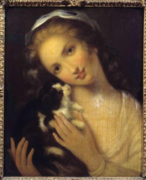 La simplicite Une jeune fille et son kiton by Jean Baptiste Greuze (1725-1805) 1759