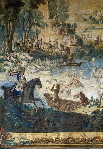 Hunting of Louis XV: the death of the deer in the pond. Detail. Tapestry by Jean Baptiste Oudry (1686 - 1755), 1741. Compiegne, Musee National Du Chateau