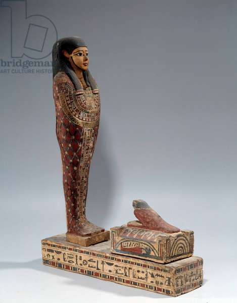 Egyptian antiquite: painted wooden statue of Ptah Sokar Osiris in the name of Iahmes. Around 600-200 BC. Sun 0,76x0,39 m Paris, musee du Louvre
