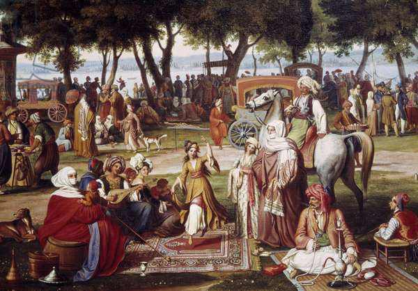 Freshwater Asia in Constantinople - Sweet living: group of men and women smoking, dancing - Painting by Johann Wittmer (1802-1880) 1837 Detail - Munich, Neue Pinakothek