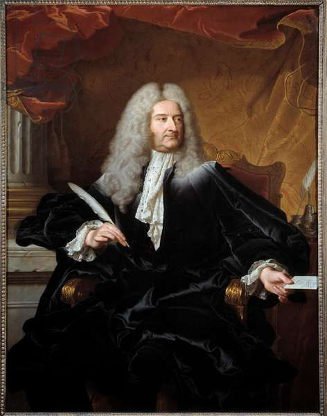 Portrait of Louis Germain de Chauvelin (1685-1762), Marquis de Grosbois, Secretary of State for Foreign Affairs and Guard of Seals Painting by Hyacinthe Rigaud (1659-1743) 1727 Sun. 1,11x1,46 m Toulouse musee des Augustins - Portrait of Louis Germain de Chauvelin (1685-1762), State Secretary for Foreign Affairs and Minister for Justice. Painting by Hyacinthe Rigaud (1659-1743), 1727. 1.11 x 1.46 m. Augustins Museum, Toulouse, France