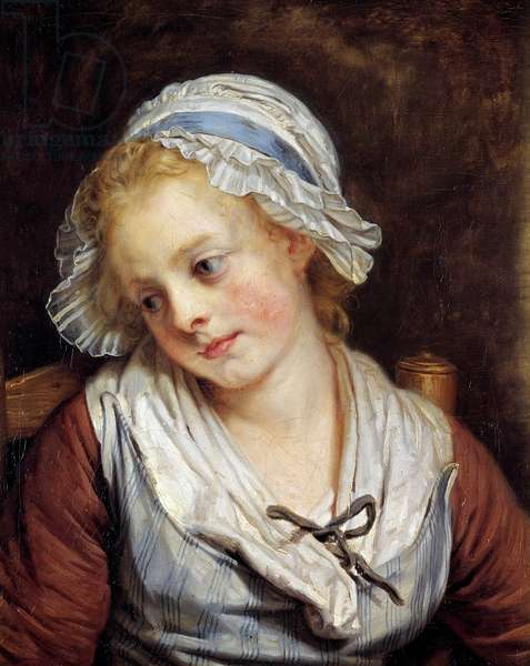 Portrait of a maiden Painting by Jean-Baptiste Greuze (1725-1805). 1765. Dim. 0,45x0,37 m. Chantilly, Musee Conde - Portrait of a young girl. Painting by Jean-Baptiste Greuze (1725-1805). 1765. 0.45 x 0.37 m. Conde Museum, Chantilly, France