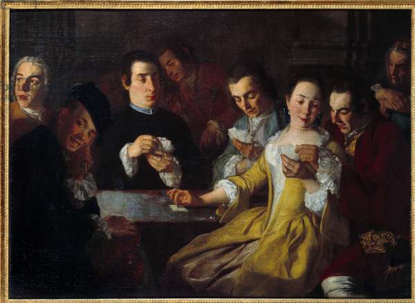 The card game. Painting by Gaspare Traversi (? - 1769), 18th century. Oil on canvas. Dim: 0,96 x 1,31m. Rouen, Museum of Fine Arts