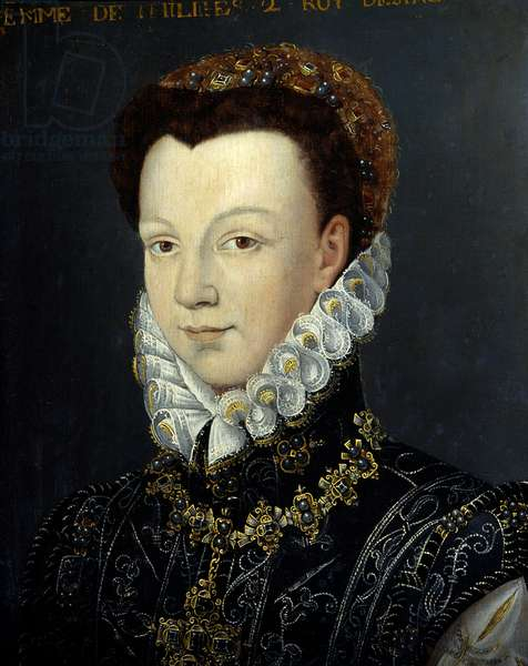 Portrait of Elisabeth de Valois (or Elisabeth of France, 1545-1568), Queen of Spain, daughter of Henry II, second wife of Philip II king of Spain. Painting of the French school. Oil on wood. Sun: 0,23 Versailles, Musee Du Chateau