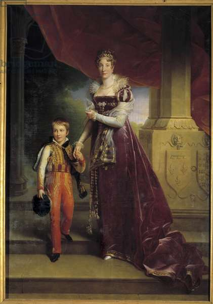 Portrait in foot of Marie-Amelie de Bourbon, Princess of the Two Sicilies, Duchess of Orleans (future Queen Marie-Amelie, 1782-1866) holding by hand her son in the Duke of Chartres (future Duke of Orleans) Painting by Francois Gerard (1770-1837) 19th century Diml. 0,32x0,24 m.