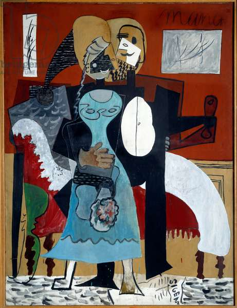 Lovers. Oil on canvas. Dim: 1,85 x 1,40m. Painting by Pablo Picasso (1881-1973), 1919. Paris, Musee Picasso.