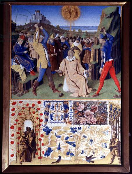 """The martyrdom of Saint Stephen by stoning Miniature taken from """"The Book of Hours of Etienne Chevalier"""" by Jean Fouquet (1420-1477/1481), 15th century. Chantilly, Conde Museum"""