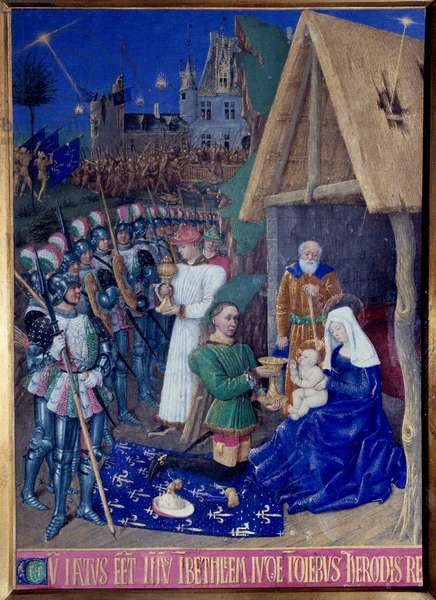 """The Adoration of the Magi Miniature taken from """"The Book of Hours of Etienne Chevalier"""" by Jean Fouquet (1420-1477/1481), 15th century. Chantilly, Conde Museum"""