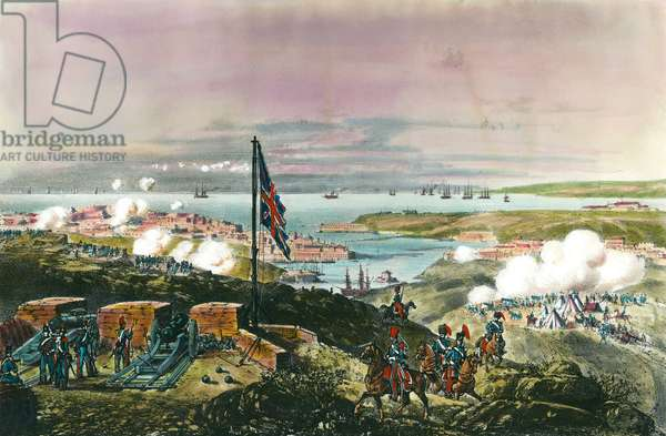 Crimee War (1853-1856) between Russia and the Ottoman Empire: the French and British allied with the Turks to besiege the Russian port of Sebastopol from 17 October 1854 to 8 September 1855. View from the English front. Engraving of the 19th century. Private Collection