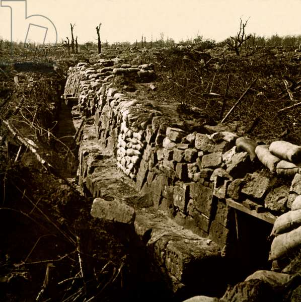 Stereoscopic glass plate on the First World War (1st, Iere, 14-18 or 1914-1918) (The First World War; WWI): German Brench of the Hindenburg Line, Private Collection