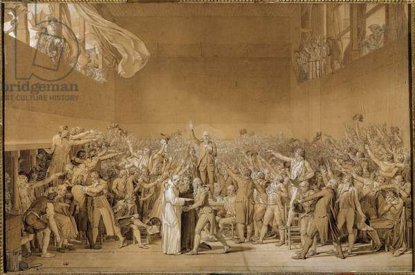 """French Revolution: """""""" The Oath of the Jeu de Paume in Versailles on 20/06/1789"""""""" In the centre is Jean Sylvain Bailly (1736-1793). The deputies swear not to separate themselves until a Constitution is amended. Drawing preparatory to the wash by Jacques Louis David (1748-1825). 1791 Sun. 0,66 x 1,01m Versailles, musee du chateau"""
