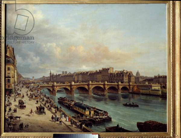 La cite et le Pont Neuf seen from the Quai du Louvre In the foreground, a boat wash (boat-wash) and the great activity of the banks of the Seine. Painting by Canella Giuseppe Canella l'Ain (1788-1847). 1832 Sun. 1,04 x 1,30 Paris, Musee Carnavalet