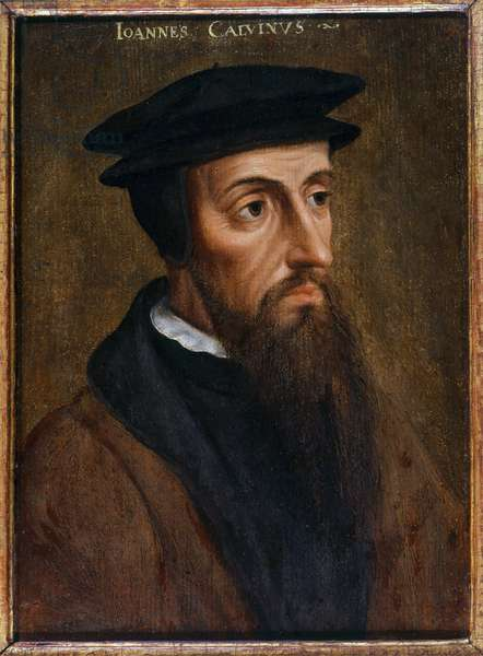 Portrait of Jean Calvin (Jean Cauvin) French reformer and writer (1509-1564) Anonymous painting. 1550. Rotterdam. Musee Boymans Van Beuningen - Portrait of John Calvin (Jean Cauvin), French writer, theologian and pastor during the Protestant Reformation (1509-1564), Anonymous painting. 1550. Boymans Van Beuningen Museum, Rotterdam, Netherlands