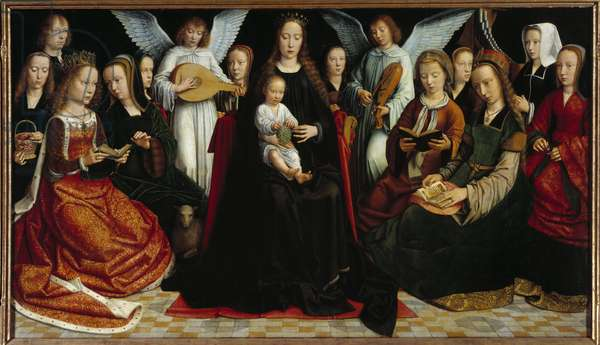 The Virgin between the saints Before: Saint Dorothee, Saint Catherine, Saint Agnes, Saint Fausta, Saint Apollo (or Apollonia), Saint Godeline, Saint Cecile, Saint Barbe, Saint Lucia, at the back: Gerard David and his wife Cornelie and two musicians angels. Painting by Gerard David (1460-1523) (ec.flam.) 1509 Rouen, Musee des Beaux Arts