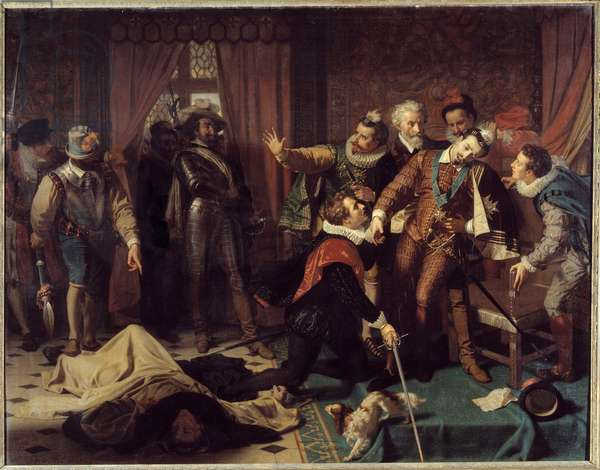 Assassination of Henry III (1551-1589) by Jacques Clement (1567-1589), a Dominican religious supporter of the Catholic League, on August 1, 1589. Painting by Hugues Merle (1823-1881), 1863. Blois, Musee Communal Du Chateau