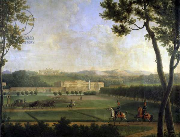 View of the Imperial Palace of Schonbrunn, Vienna Austria. This is the summer residence of the Habsburgs built at the end of the 17th century by Johann Fischer von Erlach. Detail of a painting by Joseph Bidault (1758-1846) 1810 Paris, msuee Marmottan