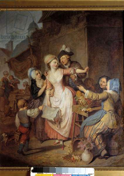 The Seduction A man seduces a young woman by offering her a bouquet of flowers, another woman seems to warn her. Painting by Pierre-Alexandre Wille dit Wille Fils (1748-1821). 1778. Paris, Museum of Decorative Arts