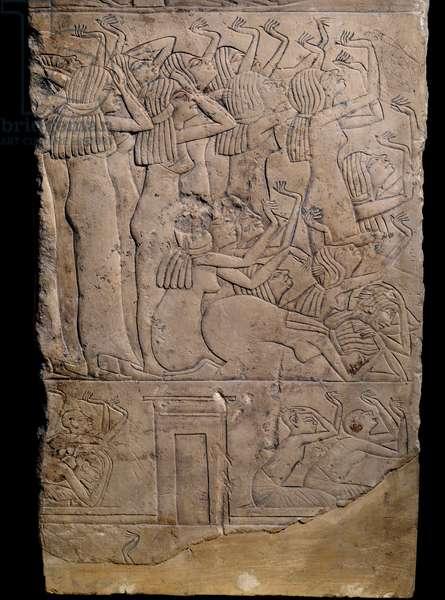 Egyptian antiquite: memphite tomb from Horemheb to Saqqarah (Sakkarah or Saqqara), relief: weeping at the funeral of Horemheb. 18th dynasty (circa 1550-1295 BC), 1430 BC. Dim. 0,75m. Paris, Louvre Museum