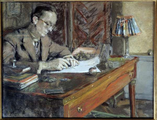 Portrait of Jean Giraudoux (1882 - 1944), French writer, 20th century. Paris, French Comedy (oil on canvas)