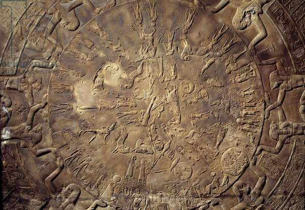 Egyptian antiquite: zodiac detail with relief constellations from the ceiling of the east chapel of Osiris from the Temple of Hathor in Denderah. 30 BC. Paris, Louvre Museum