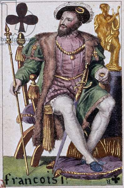 Representation of King Francois I (1494-1547). Detail of a play card made by Gustave Houbigant (1789-1862) 19th century Paris B.N.