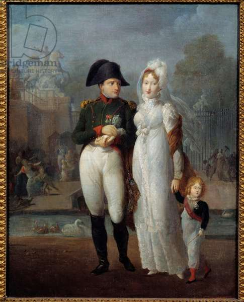 Portrait of Napoleon I (1769-1821) and Mary Louise with their son, King of Rome Napoleon II, Duke of Reichstadt in the Tuileries Gardens Anonymous painting. 19th century Private collection - Portrait of Napoleon I (1769-1821) and Marie Louise with their son, the King of Rome, Napoleon II, Duke of Reichstadt in the Tuichstadt Ileries Gardens. Anonymous painting. 19th Century. Private Collection