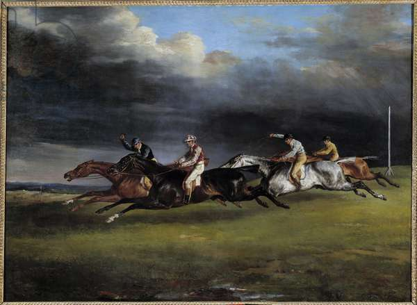 Horse Race says the derby at Epsom Painting by Theodore Gericault (1791-1824) 1821 Sun. 0,92x1,25 m