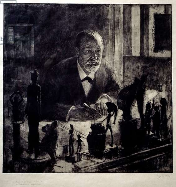 Portrait of Sigmund Freud (1856 - 1939) has his working table. Drawing by Max Pollock (20th century), 1914. Oslo, Freud Museum