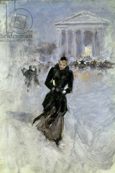 Young elegante woman at the boa in the rue Royale in Paris Painting by Jean Beraud (1849-1935) 20th century Tours, Musee des Beaux Arts