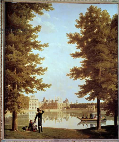 Promenade of Emperor Napoleon I (1769-1821) and Marie Louise on the Carp Pond at Fontainebleau Painting by Joseph Bidault (1758-1846) 1810 Sun. 2,28x1,74 m Paris, Musee Marmottan