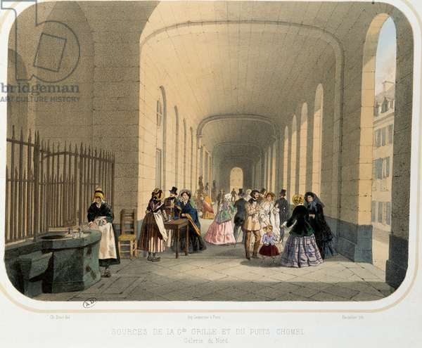 "Thermalism: """" view of the source of the large grid and the Chomel well, gallery of the north"""" Lithograph of 19th century Paris. Decorative Arts"