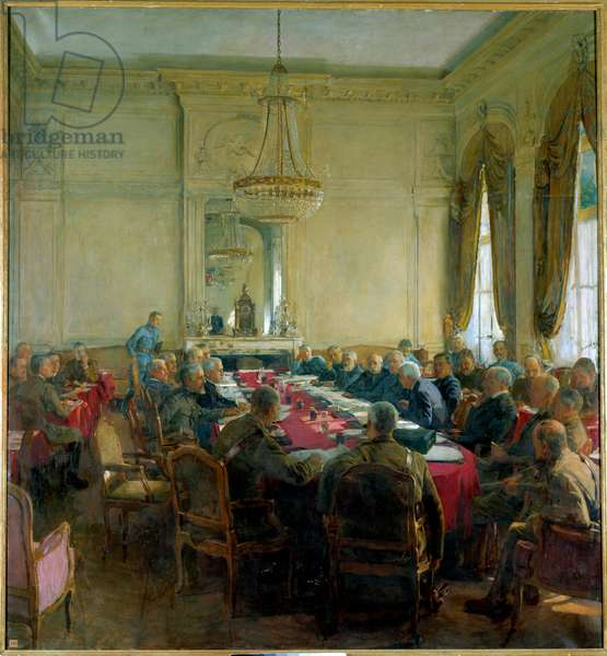 "First World War (1914-1918): ""A meeting of the Superior Council at the Trianon Palace in Versailles in July 1918"", 1924 (oil on canvas)"