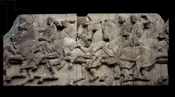 Greek Art: low marble relief depicting riders from the northern frieze of the Athenes Parthenon. London, british museum