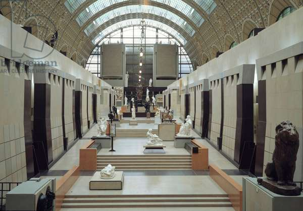View of the central allee of the Musee (old station) d'Orsay in Paris.