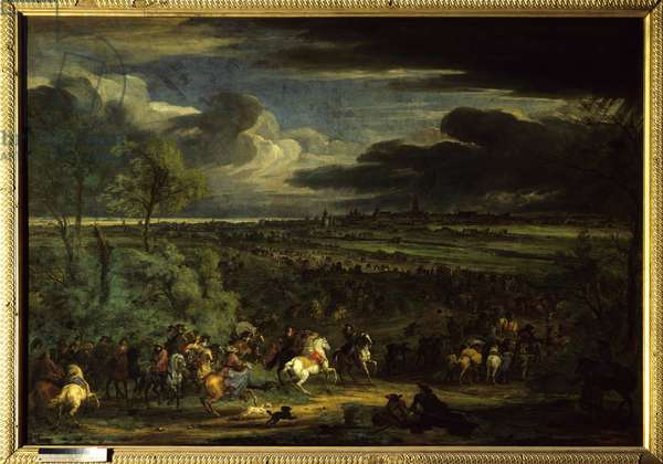 """The War of Devolution (1667-1668): """""""" View of the March of the Armee of King Louis XIV on Kortrijk on 18 July 1667"""""""" One can see the marechal of Aumont (Antoine d'Aumont de Rochebaron, 1601 - 1669). Painting by Adam van der Meulen (1632-1690) (ec.flam.) 1667 Sun. 2,2x3,28 m Versailles, musee du chateau."""
