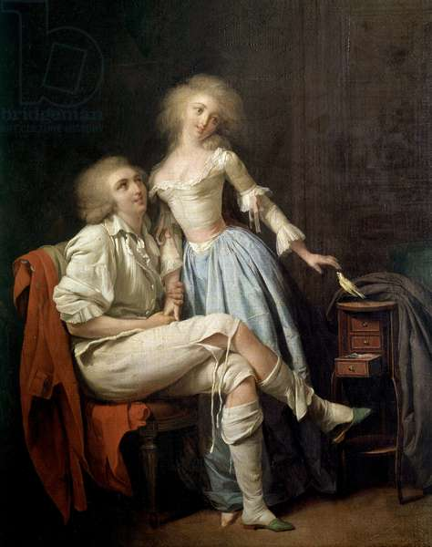 The private bird also says the couple and the bird flies Painting by Louis leopold Boilly (1761-1845) 19th century Sun. 0,4x0,32 m
