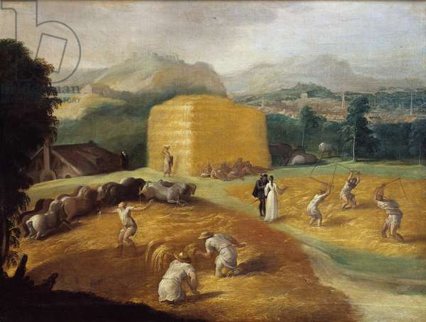 The threshing of the wheat or landscape with the beater Painting of the school of Nicolo dell'Abate (1509-1571) 16th century Sun. 0,85x1,2 m Fontainebleau, museum of the castle