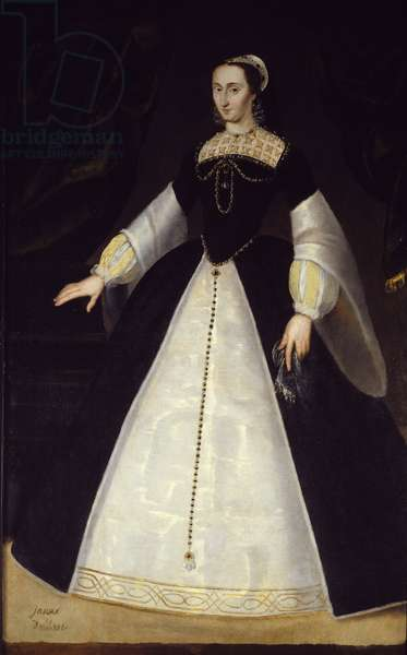 Portrait in foot of Joan of Albret, Queen of Navarre (1528-1572) mother of Henry IV Anonymous painting. 16th century Sun. 1,96x1,22 m Pau, museum of the castle